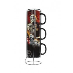 BLACK FIRST ORDER SET 3 TAZAS APILABLES CERAMICA STAR WARS EP7