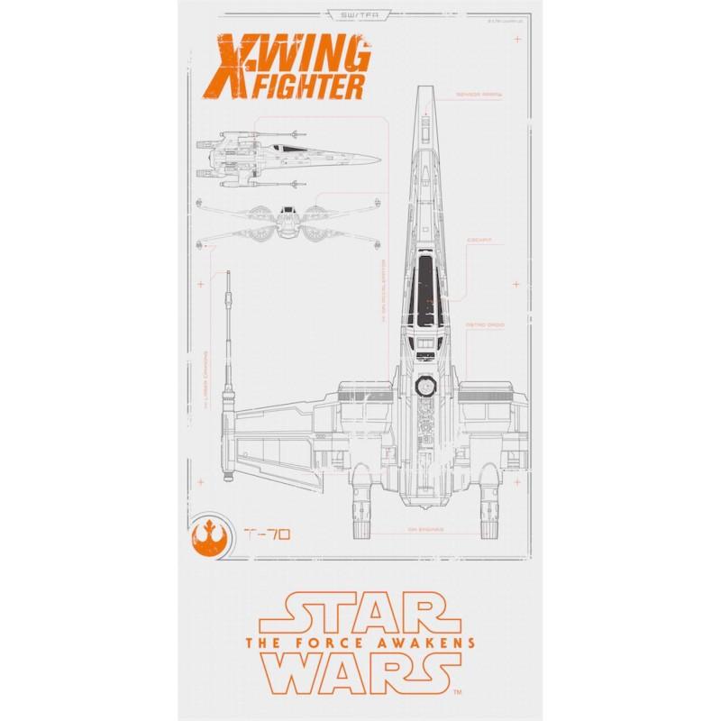 X-WING PLANOS POSTER DE VIDRIO STAR WARS EP7 30x60 CM