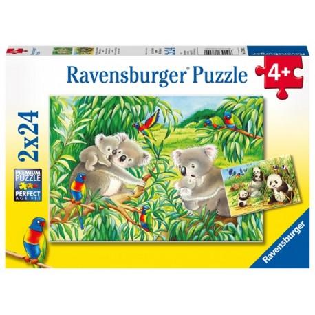 Puzzle 2 X 24 Pz: Dulce koala y panda