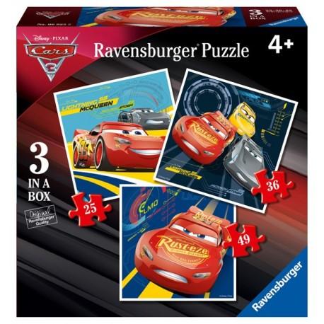 Puzzle 3 en 1 Progresivo: Cars 3