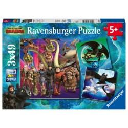 Puzzle 3 X 49 Pz: Dragons
