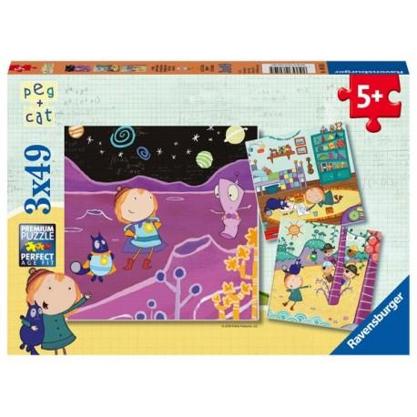 Puzzle 3 X 49 Pz: Peg + Cat