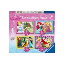 Puzzle 4 en 1: Princesas Disney