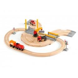 BRIO Set circuito de tren y carretera con grúa