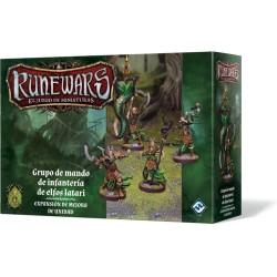 Runewars: El juego de miniaturas - Grupo de mando de infantería de elfos latari